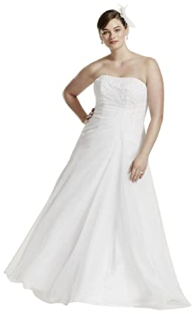 David\'s Bridal Chiffon Side Drape A-line Plus Size Wedding ...