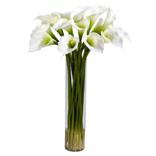 Calla Lilly Flower Arrangements - Nearly Natural 1251-CR Calla Lilly with Cylinder Silk Flower Arrangement, Cream