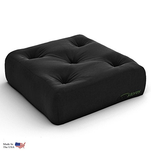 Nirvana Futons Plush, Comfortable 8-Inch Futon Chair Ottoman Mattress, Black Twill - Made in USA