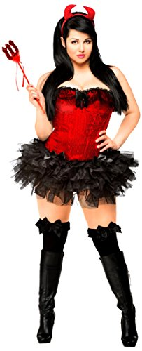 Daisy corsets Women's 4 Piece Pin-up Devil Costume, Red, 3X