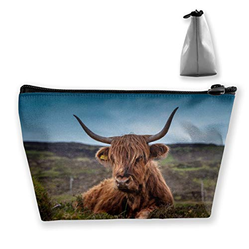 - Janmhe Zoeba Beef Scotland Highland Beef Cow Ox Meadow Makeup Bag Storage Bag Portable Travel Cosmetic Cute Sloth Toiletry Bag Organizer Accessories Case for Beauty Women
