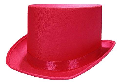 Pink Top Hats - Tuxedo Satin Costume Top Hat, Pink,