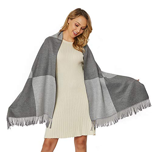 Warmer Wowen Pashmina Shawl Soft Cashmere Feel Shawl WrapsLarger Double Color Matching Plaid Tartan Scarf