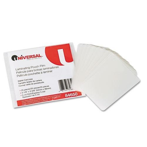 UNIVERSAL OFFICE PRODUCTS 84650 Clear Laminating Pouches, 5 mil, 2 1/8 x 3 3/8, Business Card Style, 25/Pack