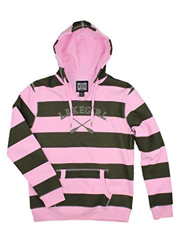 LAKEGIRL Women's Lakeside Stripe Hoodie (Small, Forest Night/Pink) (Lake Girl)