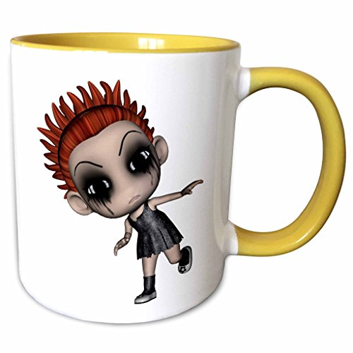 (3dRose Blonde Designs Happy and Haunted Halloween - Halloween Creepy Redhead Girl Doll - 15oz Two-Tone Yellow Mug)