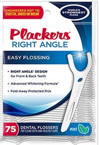 Plackers Whitening Right Angle Floss Picks-75 ct (Quantity of 6)