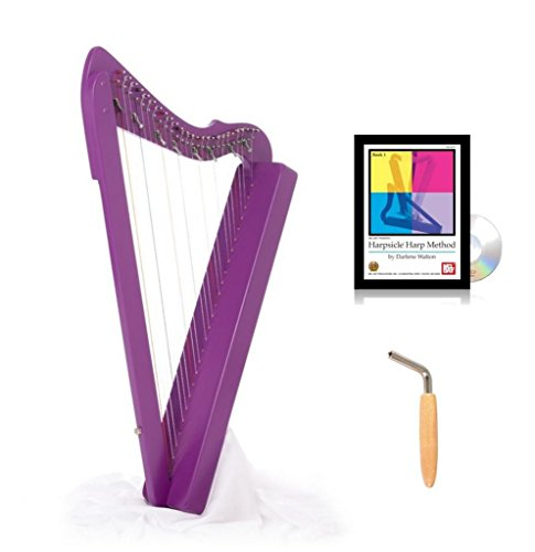 26-String 33'' LAP Harp HARPSICLE Rees Harps SHARPSICLE, Made in USA Purple, Book by Harpsicle Harps