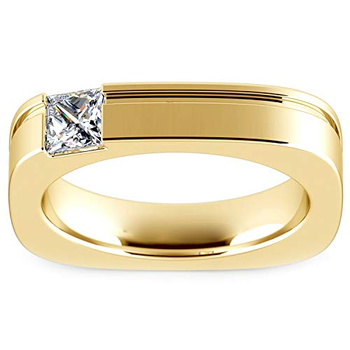 0.50 Ct Princess Cut Simulated Diamond Solitaire Half Bezel Set Men's Engagement Ring 14K Yellow Gold Plated ()