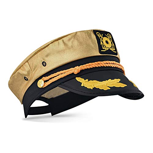 Captain Ford's Unisex Snapback Neon Captain Hat - Perfect for Parties (Gold)]()