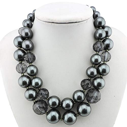 Acrylic Pearl Necklace (Firstmeet FIRSTMET 2-Layer Handmade Pearl Collar Necklace for Women (XL-1041-grey))