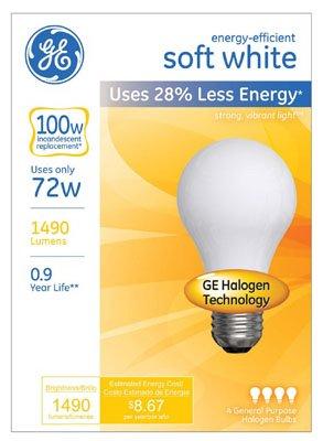 GE Lighting 66247 Soft White 43-Watt, 750-Lumen A19 Light Bulb with Medium Base, 4-Pack