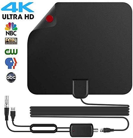 Antena de TV, [Versión Mejorada] Antena Interior HDTV de Rango Amplificado de 95 km (60 Millas) con Amplificador de ...
