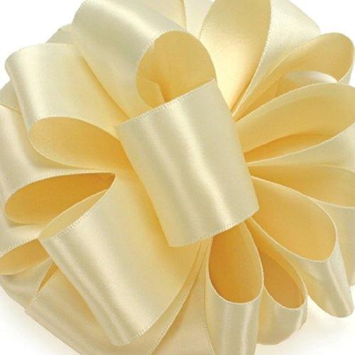Ivory Double Satin Offray Ribbon (Offray Double-Face Satin Ribbon 2.25 Inch 10 yards Cream, Several Colors + Custom Print)