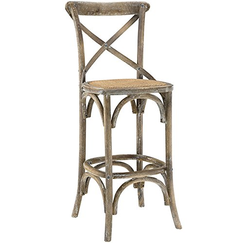 Modway Gear Modern Farmhouse Cross Back Elm Wood Bar Stool With Rattan Seat in Gray