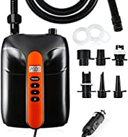 AOLVO Electric Air Pump for Inflatable Boat, with Preset PSI Auto Shutdown, Max 20 PSI and 6 Additional air Pu