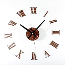 Alrens_DIY(TM)Brown Roman Numerals Rivet 3D Acrylic Silent Non-ticking Quartz Creative Antique DIY Self Adhesive Home Decor Digital Home Décor Retro Art Wall Clock Housewarming Gift Living Room Decoration