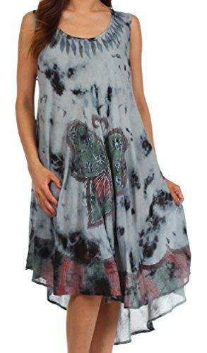 Sakkas 217 Tie Dye Butterfly Tank Sheath Caftan Mid Length Cotton Dress - Charcoal/One Size