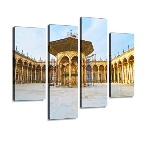 (Ablution Fountain of Alabaster Mosque, Cairo Citadel, Egypt Canvas Wall Art Hanging Paintings Modern Artwork Abstract Picture Prints Home Decoration Gift Unique Designed Framed 4 Panel)