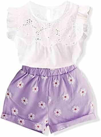 6510547b74 Toddler Girl Outfits 2Pcs Ruffle T-Shirt Vest Tops and Shorts Pants Clothes  Sets Pink