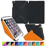 iPad Mini 3 Case - roocase Origami 3D iPad Mini Slim Shell Case Smart Cover Stand with Auto Sleep / Wake Feature for Apple iPad Mini 3 2 & 1 Granite Black / roocase Orange WLM