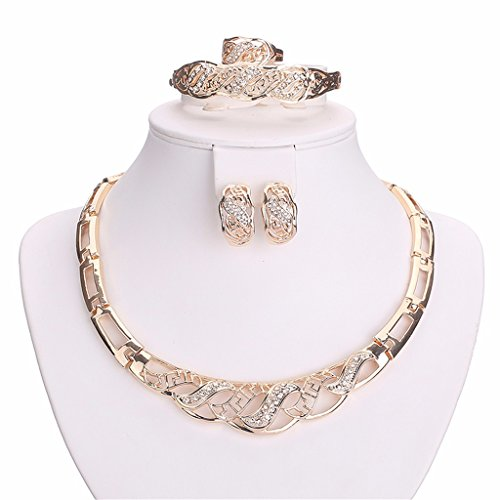 Moochi 18K Gold Plated Crystal Embedded Hollow Chain Necklace Earrings Ring Bracelet Jewelry Set