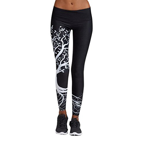 af01c1cce323 Owill Women Printed Sports Yoga Workout Gym Fitness Exercise Athletic Pants  (Black