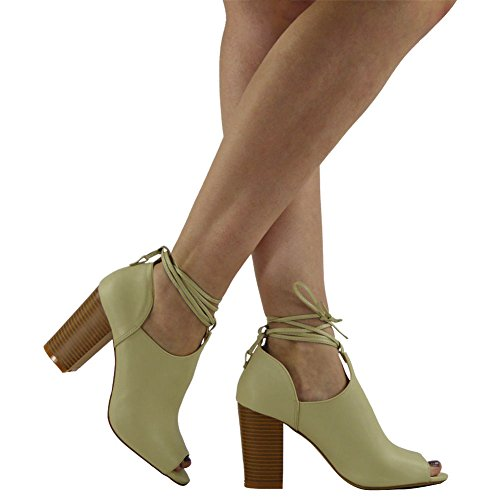 Lace Taglia Block Ladies Party High Shoes Heel Nude 3 Chunky Up Peeptoe Womens Sandali 8 g5PYxqq
