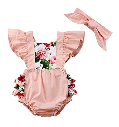 (KONIGHT Baby Girls Two Pieces Flower Print Buttons Short Sleeve Ruffles Romper Bodysuit with Headband (Pink, 0-6 Months))