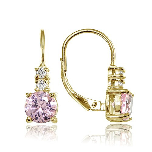 Gold Simulated Stone Earrings (Yellow Gold Flashed Sterling Silver Simulated Pink Tourmaline 6mm Round and CZ Accents Leverback Earrings)