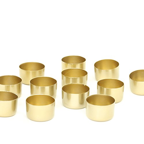 Koyal Wholesale Metal Tealight Candle Holder Cups, Brass Metallic Tea Light Holders, Set of 12 (Shiny Gold)