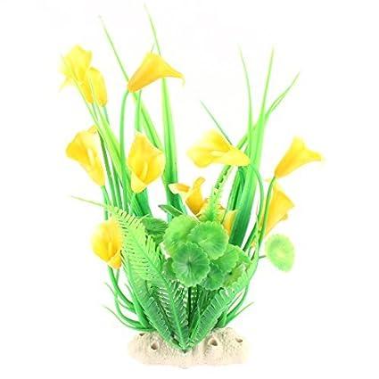eDealMax Planta de agua plástico imitó la Flor Gras Amarillo Verde Para el acuario