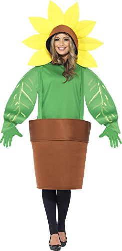 Smiffy's Adult Unisex Sunflower Costume, Top with Attached Hood, Plant Pot and Gloves, Funny Side, Serious Fun, One Size, 43409