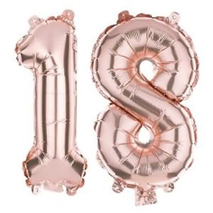 (18) - Alchik 100cm Rose Gold Number Balloons - Jumbo Rose Gold Foil Balloon Party Supplies For Birthdays, Weddings, Party, Bridal Shower, Anniversary - Self Sealing & Easy To Inflate Giant Balloons (18) 18  B07DJ1S4PV