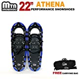 New MTN Extreme Lightweight All Terrian Man Woman Kid Teen Snowshoes up to 255 lbs /Free Bag + Nordic Pole - BLUE (22'' inch)