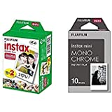 Fujifilm Instax Mini Instant Film 2-PACK BUNDLE SET , Twin Pack Film ( 20 ) + Film Monochrome ( 10 ) for Mini 90 8 70 7s 50s