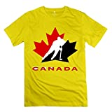 ZZY New Design Ice Hockey Canada Tee - Men's T Shirt Yellow Size S