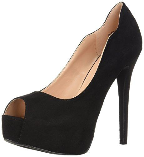 Heels Black Toe Peep (DREAM PAIRS Women's Swan-25 Pump, Black, 9 M US)