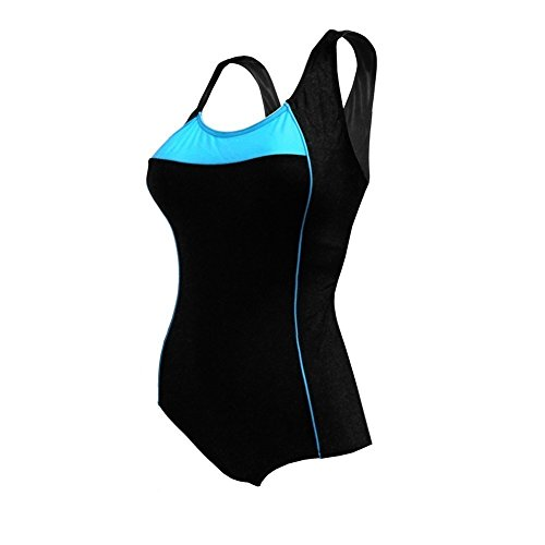 1722 Spandex (Womens Black Turquoise Side Piping Slimming Look One Piece Swimsuit 10 Misses)