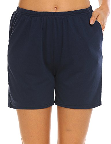 Sleepwear Boxers Ladies - Ekouaer Women's Boxer Shorts Cute Pj Shorts Lightweight Sleep Bottoms with Pockets (Navy,XL)