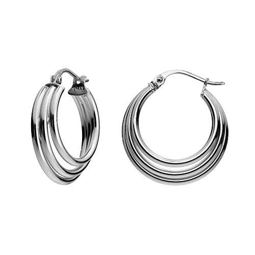 Sterling Silver Triple Circle Round Tube Polished Hoop Earrings, 20MM