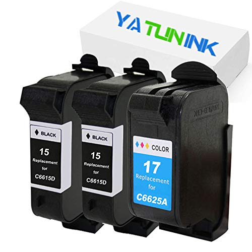 YATUNINK Remanufactured Ink Cartridge Replacement for HP 15 17 Ink Cartridge C6615DN C6625AN for HP Deskjet 825 Deskjet 840 Deskjet 841 Deskjet 842 Deskjet 843 Deskjet 845 Printer (2 Black+1 Color)