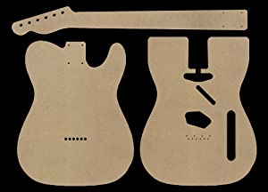 Telecaster mdf guitar body and neck template cnc cut for Strat neck template