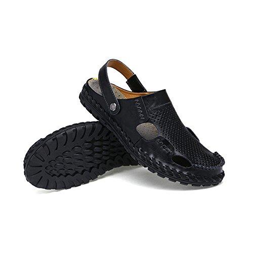 per Blue pelle adatti Sandali all'aperto EU sandali coperto la libero antiscivolo tempo Black regolabili sandali uomo per e Color il traspiranti da Size spiaggia 40 in al qAAOB7t