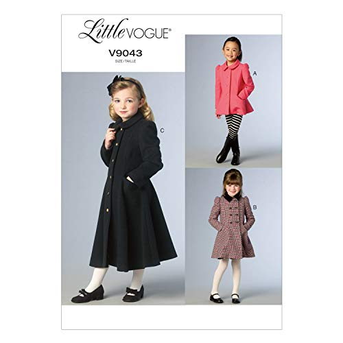 Yds Lip Cord - Vogue Patterns V9043 Children's/Girls' Jacket and Coat Sewing Template, Size CL (6-7-8)