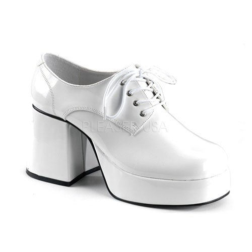 Saturday Night Fever Shoes (Mens XLG (14)- White Patent Disco Costume)