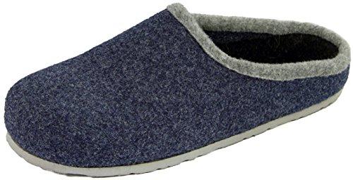 Hausschuhe Blau Fußbett Blau Herren Filzpantoffel mit Filzclogs Filzhausschuhe qvaYwx