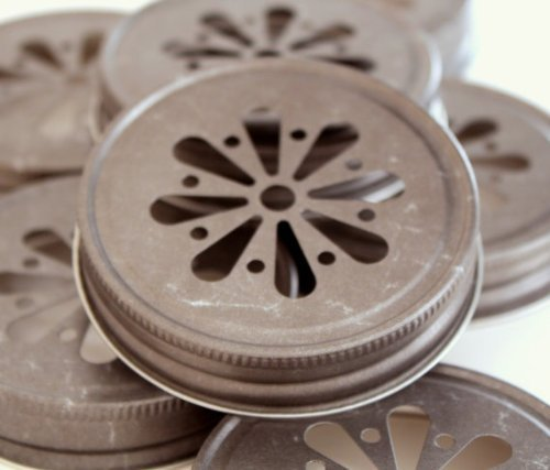 Pewter Daisy Cut Lids for Mason Jars, 12 (Custom Plastic Mason Jars)