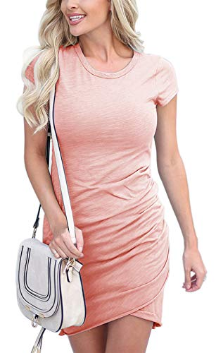 - Fatoop Women's Short Sleeve Summer Bodycon Sundress Casual Stretchy Ruched Crew Neck T Shirt Short Mini Dress (Pink, M)