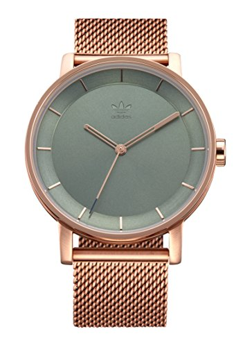 Adidas Watches District_M1. Milanese Stainless Steel Bracelet, 20mm Width (Rose Gold/Tent Green Sunray. 40 mm).